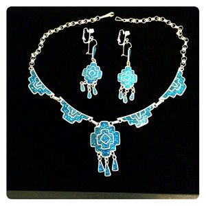 Jewelry - STERLING SILVER INLAID TURQUIOSE SET FINAL DAY
